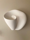 Artisanal hand made plaster sculptural wall sconce, art wall light,  bathroom wall light, bedroom wall sconce, master bedroom wall light, white wall light, shell wall light, halogen wall light, simple decorative wall sconce, modern and contemporary wall l