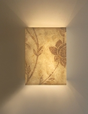 Bespoke hand painted Eucalyptus paper wall light - made to order