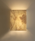 Close up of Bespoke hand painted Eucalyptus paper wall light