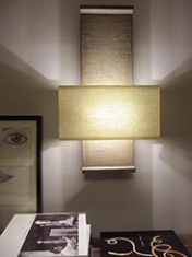 Nuit de Chine architectural wall light in faux bronze with glazed linen shade by Hannah Woodhouse