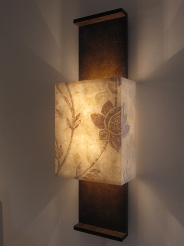 Nuit de chine with bespoke lampshade art wall lights side view of this bespoke architectural wall light by hannah woodhouse includes a beautiful hand painted mozeypictures Gallery