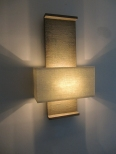 Gorgeous architectural wall light in faux bronze with glazed lined lampshade by Hannah Woodhouse
