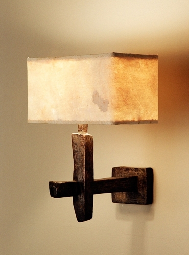 Contemporary bronze wall light with hand made eucalyptus paper lamp shade by Hannah Woodhouse